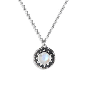 PAMELA ZAMORE - Round Radial Pendant with Cabochon and Diamonds