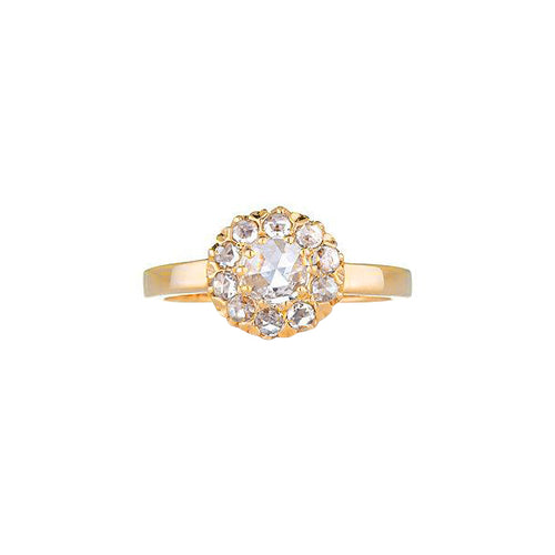 SETHI COUTURE - 18k Yellow Gold & Rosecut Diamond Floral Ring