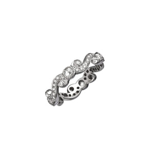 "SETHI COUTURE - 18k White Gold ""Scroll"" Ring Set w/ White Rosecut & Round Brilliant Diamonds"