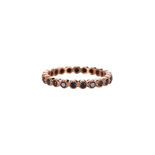 SETHI COUTURE - 18k Rose Gold Bezel Eternity Ring Set w/ Black Diamonds