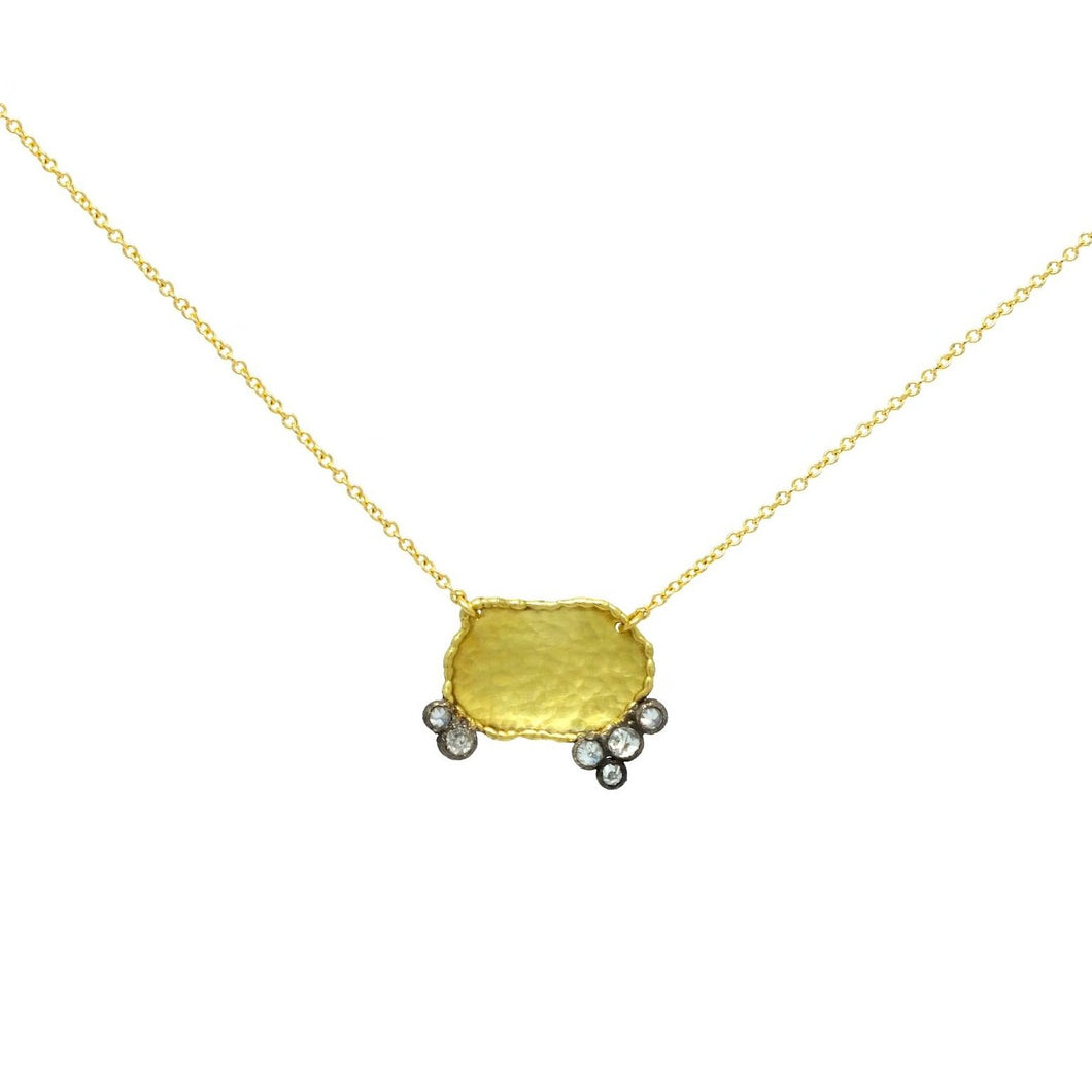 TODD POWNELL - 18 in. Necklace w/ Inverted Diamonds Set in Oxidized Gold Bezels