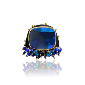 WENDY STAUFFER - Lighting Ridge Black Opal Ring w/ Beaded Fringe