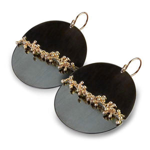 WENDY STAUFFER - Midnight Circle Earrings with Gold Sprouts