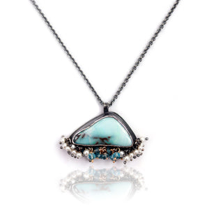 WENDY STAUFFER - Boulder Opal, Blue Topaz, and Pearl Pendant