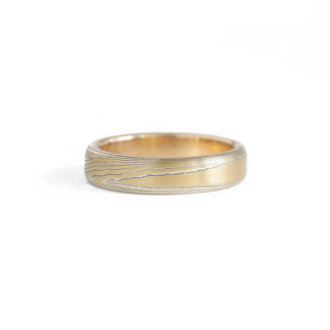 W.R. METALARTS - The Mokume Gane Yellow Gold Band