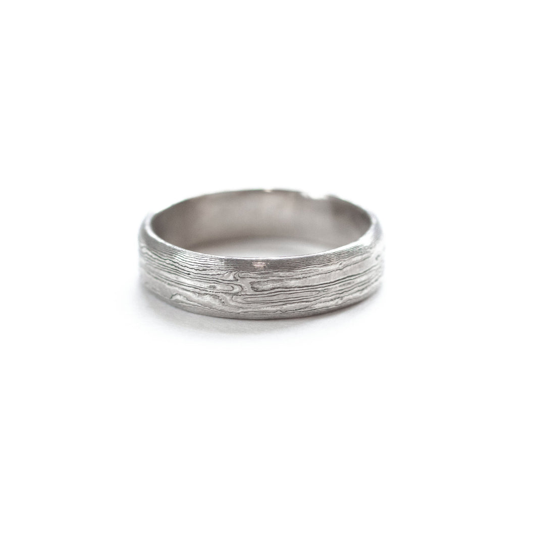 W.R. METALARTS - The Mokume Gane White Gold Band