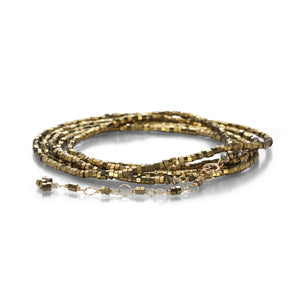 ANNE SPORTUN - 18k Gold w/ Metallic Pyrite Beads Wrap Bracelet