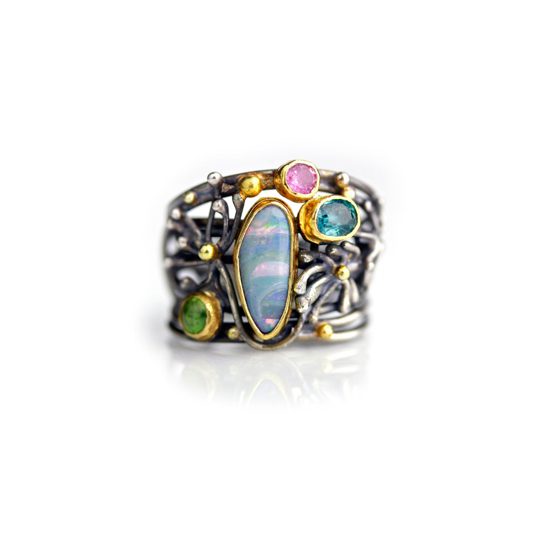 WENDY STAUFFER - Floral Boulder Opal Ring