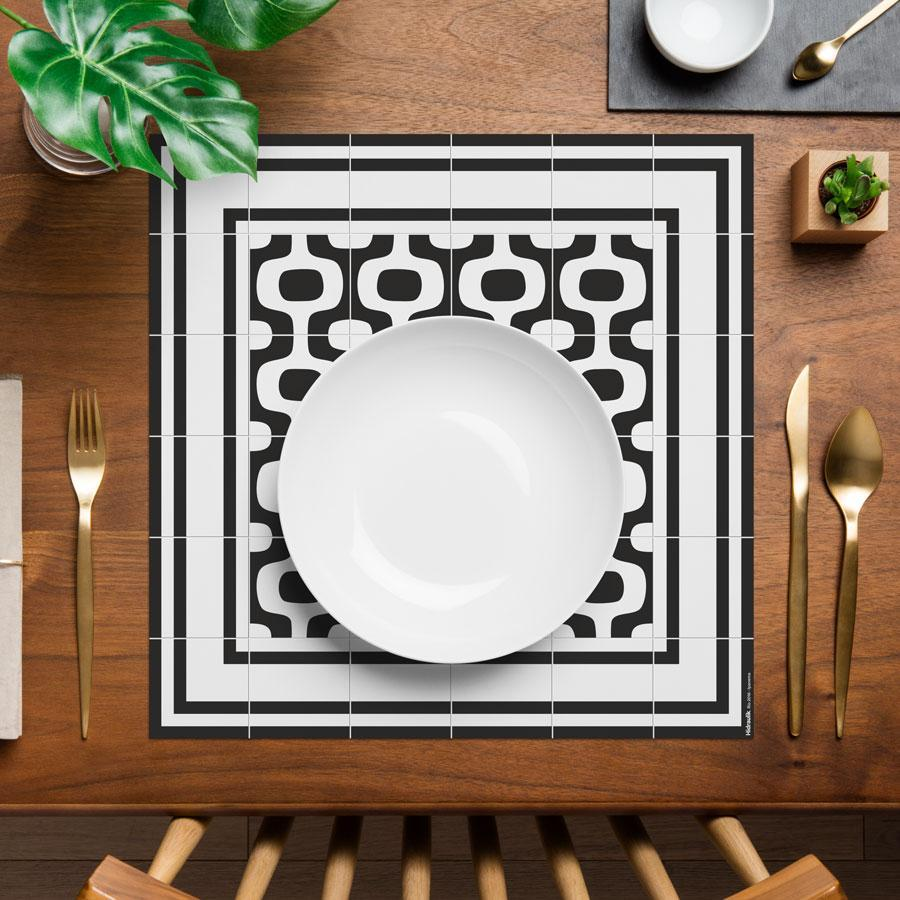 Hidraulik square vinyl placemats tile pattern Ipanema design