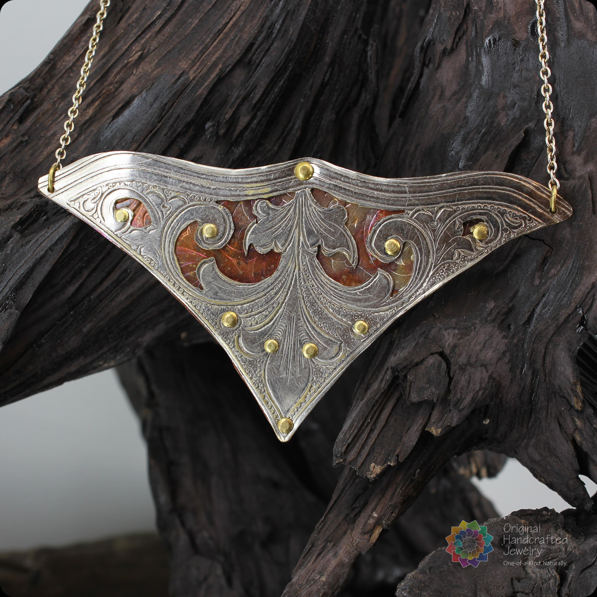 A Whale of Tale Necklace - Pierced Silverplate & Copper Whale Fluke with Brass Rivets
