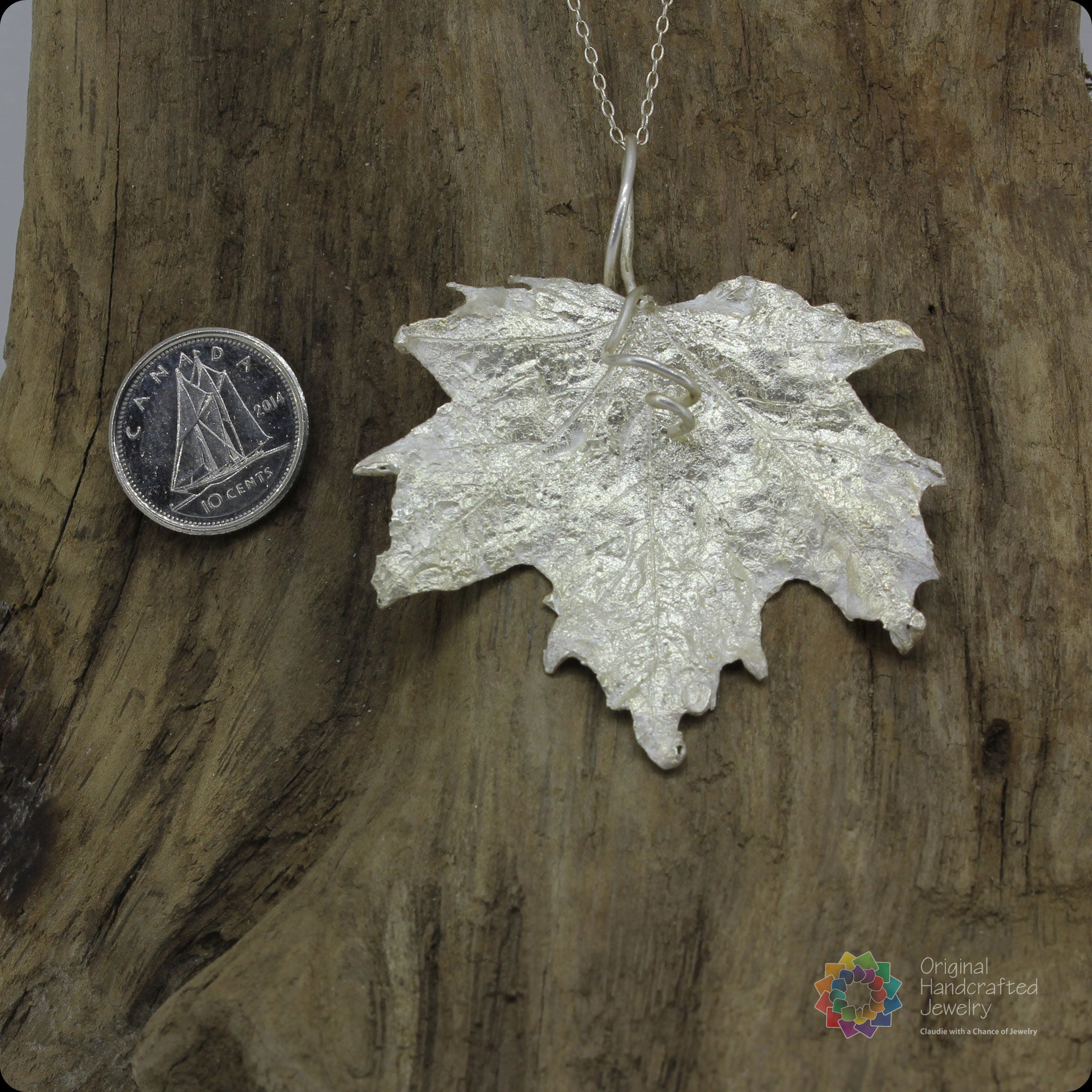 necklace leaf real products maple pendant silver fallen medium electroformed small