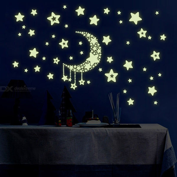 Glow In The Dark Moon & Stars Wall Decals