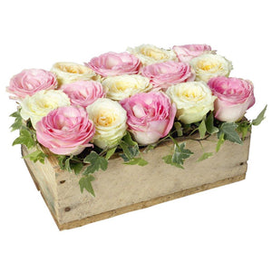 Low, compact flower arrangement featuring 15 pink and white roses arranged in a rectangular wooden container by Flower Studio.