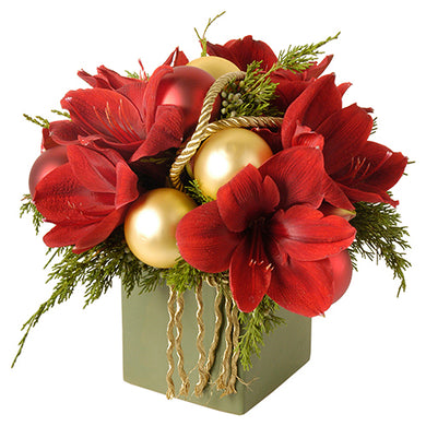 Modern assortment of red amaryllis and winter greens with red and gold decorative holiday accents in Flower Studio signature style available for Christmas.
