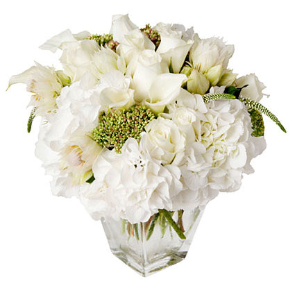 christmas holiday flowers featuring white hydrangeas, roses, calla lilies and greenery arranged in flower studio signature style in a clear glass vase.