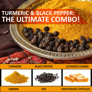 Turmeric Curcumin with Bioperine 1600mg. Highest Potency Available. Premium Pain Relief & Joint Support with 95% Standardized Curcuminoids. Non-GMO, Gluten Free Turmeric 120 Capsules with Black Pepper