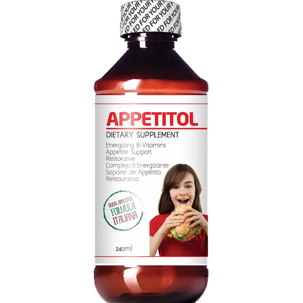 Appetitol Appetite-Weight Gain. Natural Appetite and Weight Gain Stimulant for Underweight Children Fortified with Vitamins B1,B2,B3,B5,B6,B12. (8 Fl Oz)