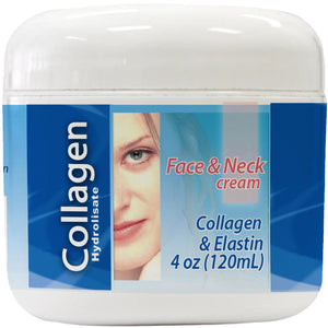 Collagen Hydrolyzed and Elastin - Fast Absorbing Skin Cream - Face & Neck ( 4 Oz )