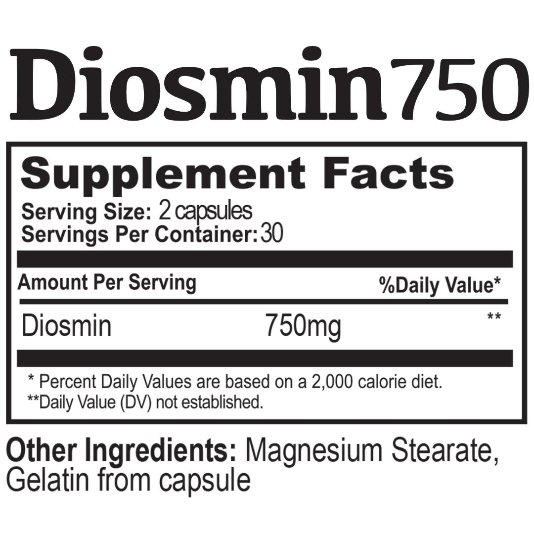DIOSMIN 750 Circulation and Vein Support ( 60 Capsules Bottle )