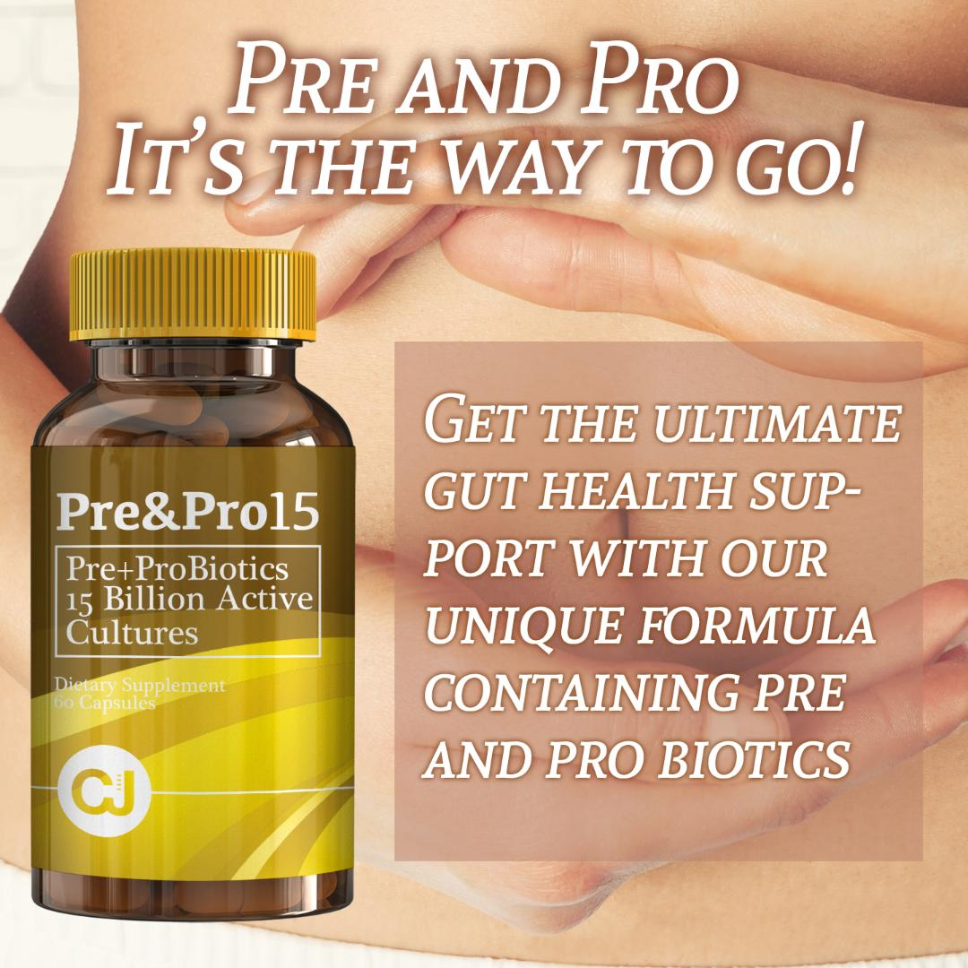 Pre & Pro 15 Billion Probiotics and Prebiotics Live Active Cultures (60 Capsules) Supports Digestive and Inmune Systems