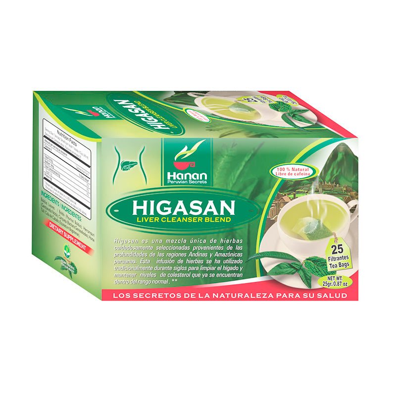 Higasan Liver Cleanse Blend Natural Herbal Tea (25 Tea Bags) Boldus Leaves, Hercampuri, Carqueja, and Horse Tail