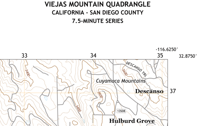 Viejas Mountain Quadrangle