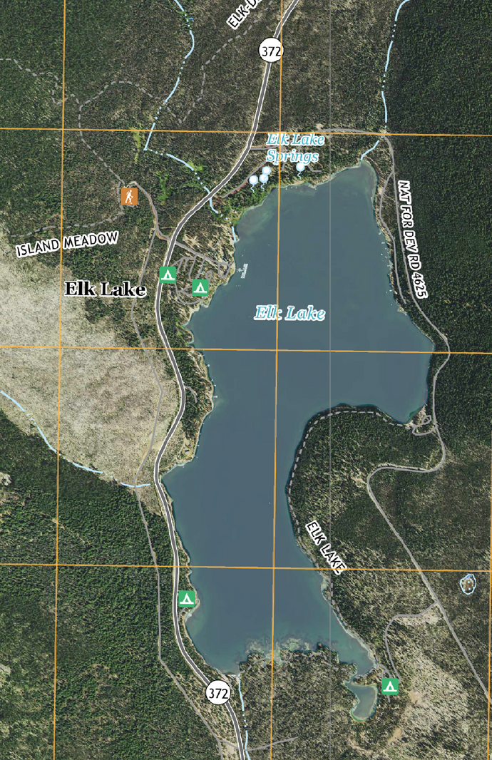 Satellite Image of Elk Lake Resort