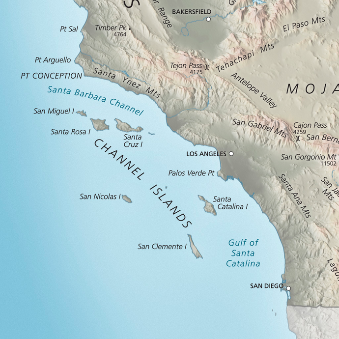 Physical Map of Channel Islands, California