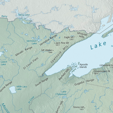 Physical Map of the Boundary Waters & Lake Superior, Minnesota & Wisconsin