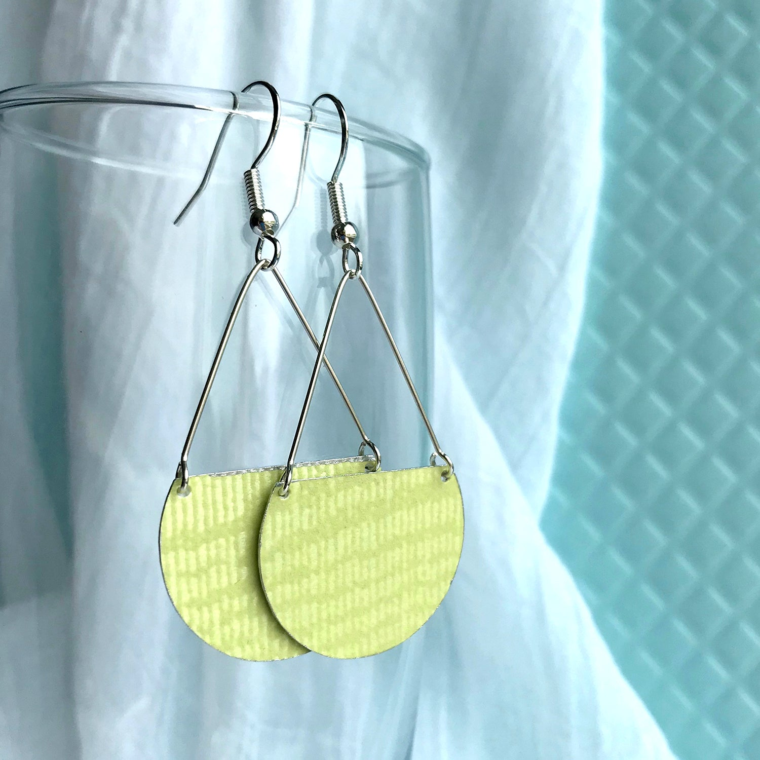 Gracie Nicole Handmade Jewelry. Flirty Lightweight Pale Chartreuse Green Semicircle Earrings