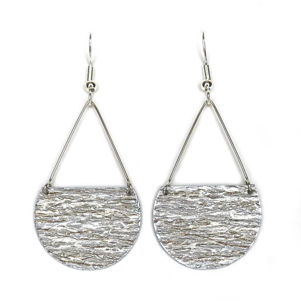 Gracie Nicole Handmade Jewelry. Flirty Lightweight Metallic Silver Semicircle Earrings