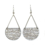 Load image into Gallery viewer, Gracie Nicole Handmade Jewelry. Flirty Lightweight Metallic Silver Semicircle Earrings