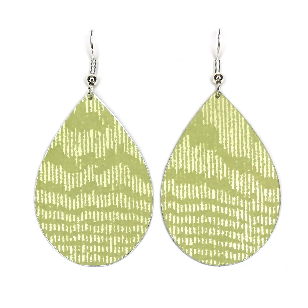 Gracie Nicole Handmade Jewelry. Inspired by daydreams of sand and palm tress, the classic teardrop earring is reimagined in a light chartreuse wallpaper with a moire texture in a matte-on-sheen finish that emulates watered silk.