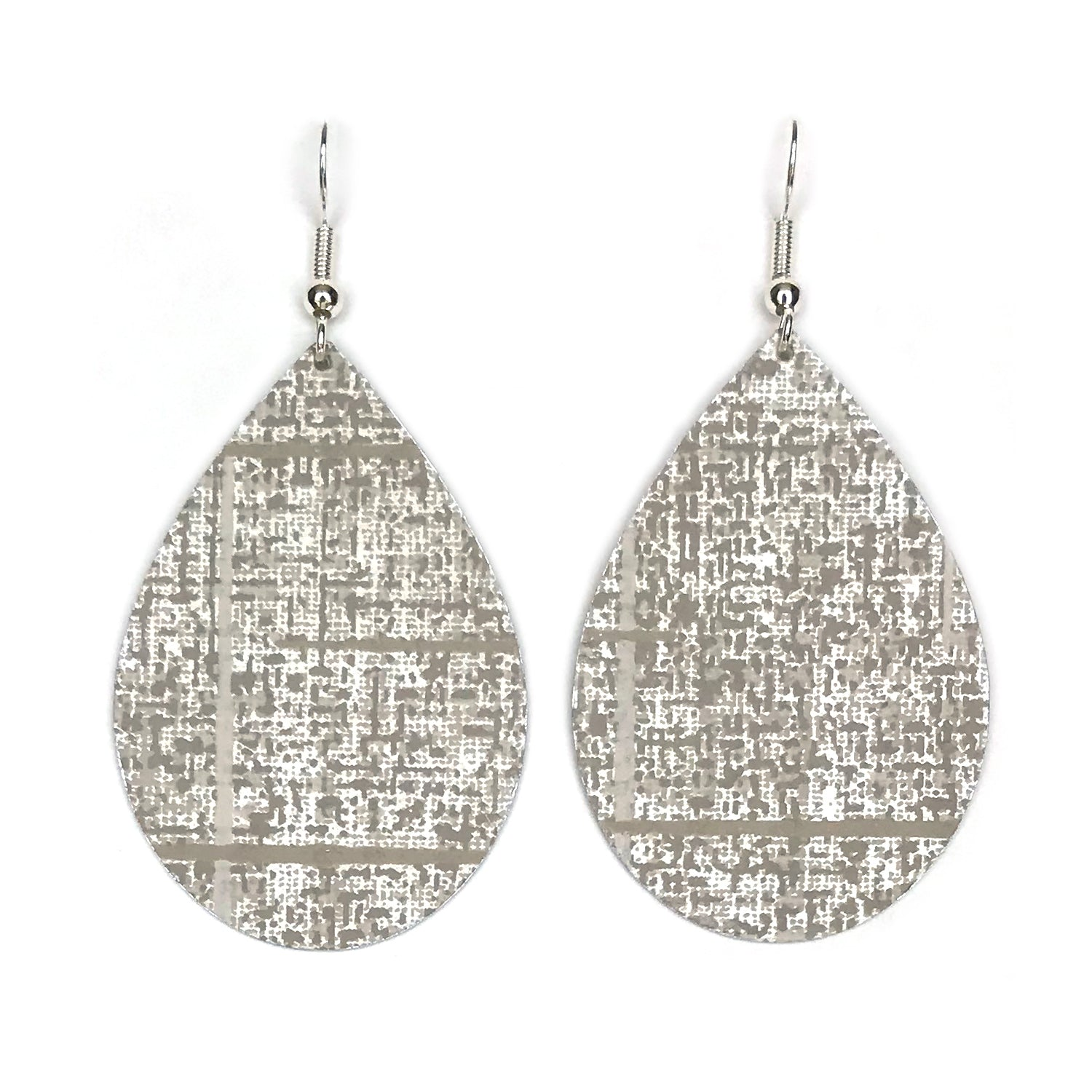Gracie Nicole Handmade Jewelry. If you want a not-so-ordinary neutral, you'll love these teardrop earrings made from this pretty grey wallpaper by York. It's has a subtle, silvery metallic shimmer with flecks and lines of gray white. It's a sophisticated pattern that really elevates the look of this fun teardrop shape.