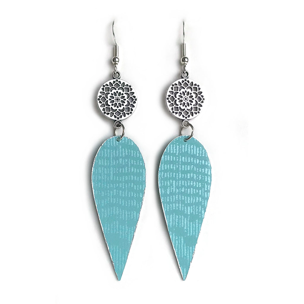 Gracie Nicole Handmade Jewelry. Silver Flower and Aqua Drop Earrings