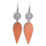 Load image into Gallery viewer, Gracie Nicole Handmade Jewelry. Silver Flower and Burnt Sienna Drop Earrings