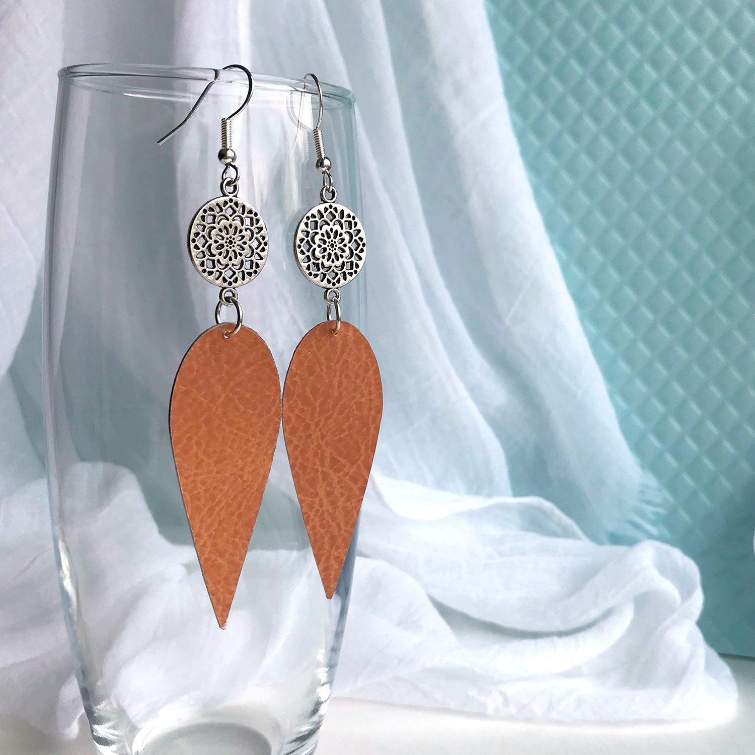 Gracie Nicole Handmade Jewelry. Silver Flower and Burnt Sienna Drop Earrings