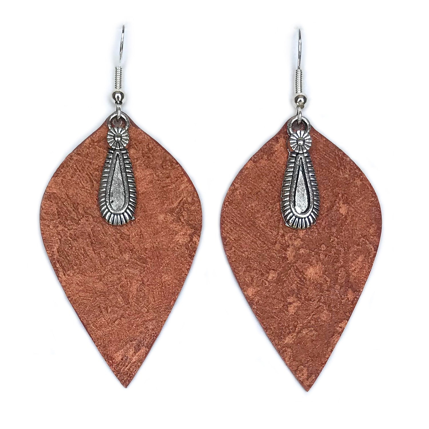 Gracie Nicole Large Leaf Earrings with Flower Teardrop Charm