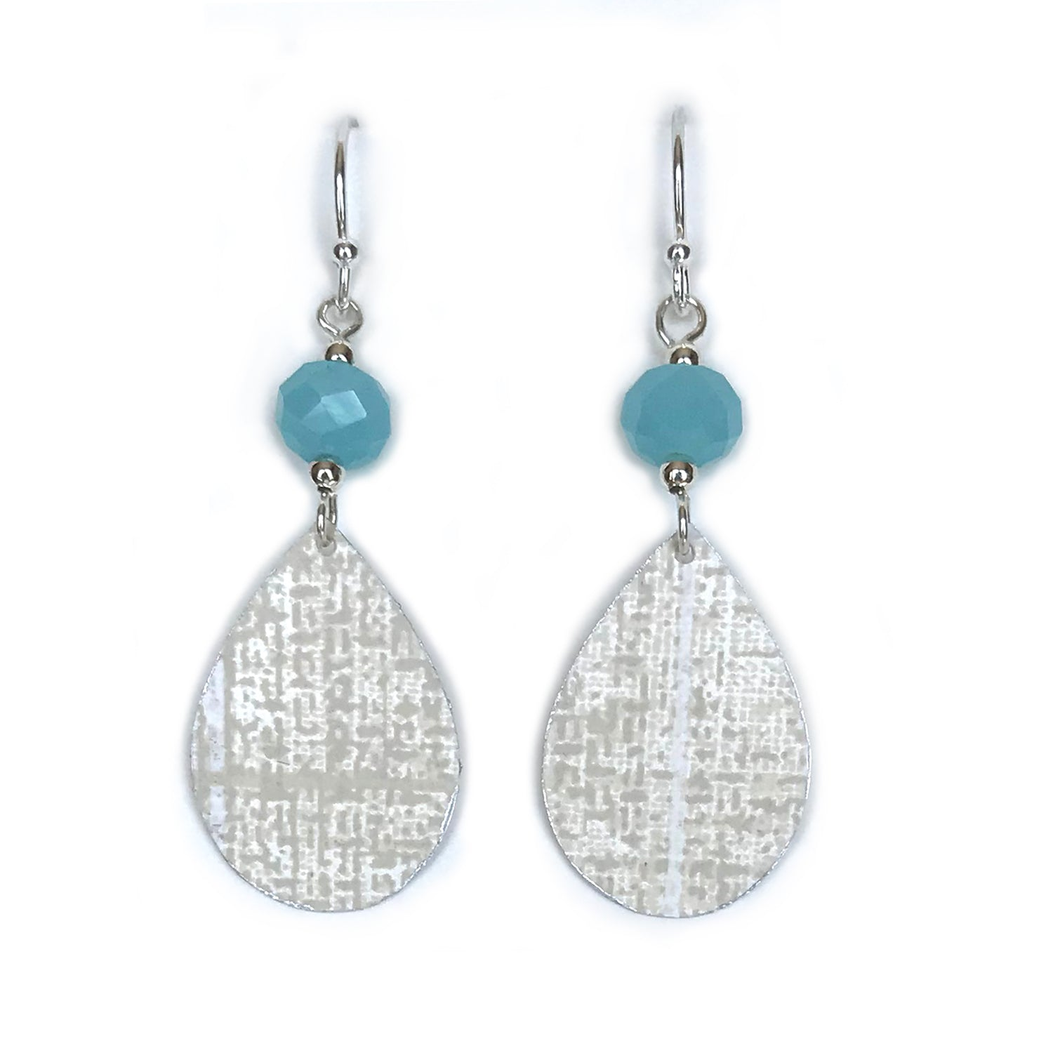 Pearly White and Gray Teardrops with Aqua Blue Faceted Beads