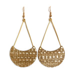 Load image into Gallery viewer, Golden Grasscloth Crescent Earrings