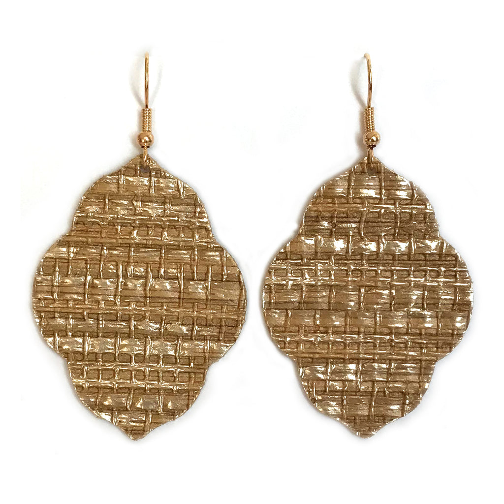 Golden Grasscloth Trendy Quatrefoil Earrings