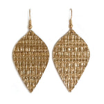 Load image into Gallery viewer, Gracie Nicole Golden Grasscloth Leaf Drop Earrings