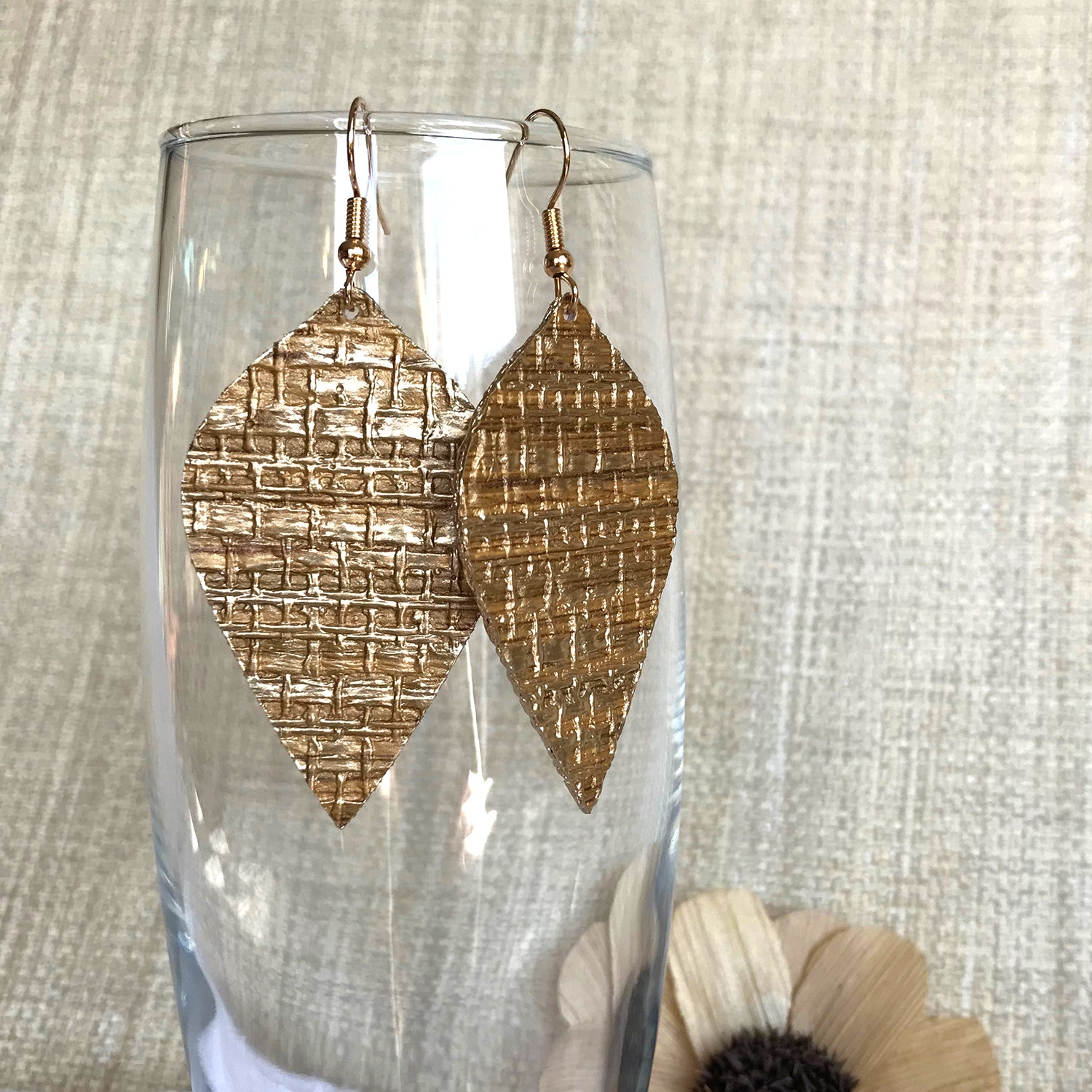 Gracie Nicole Golden Grasscloth Leaf Drop Earrings