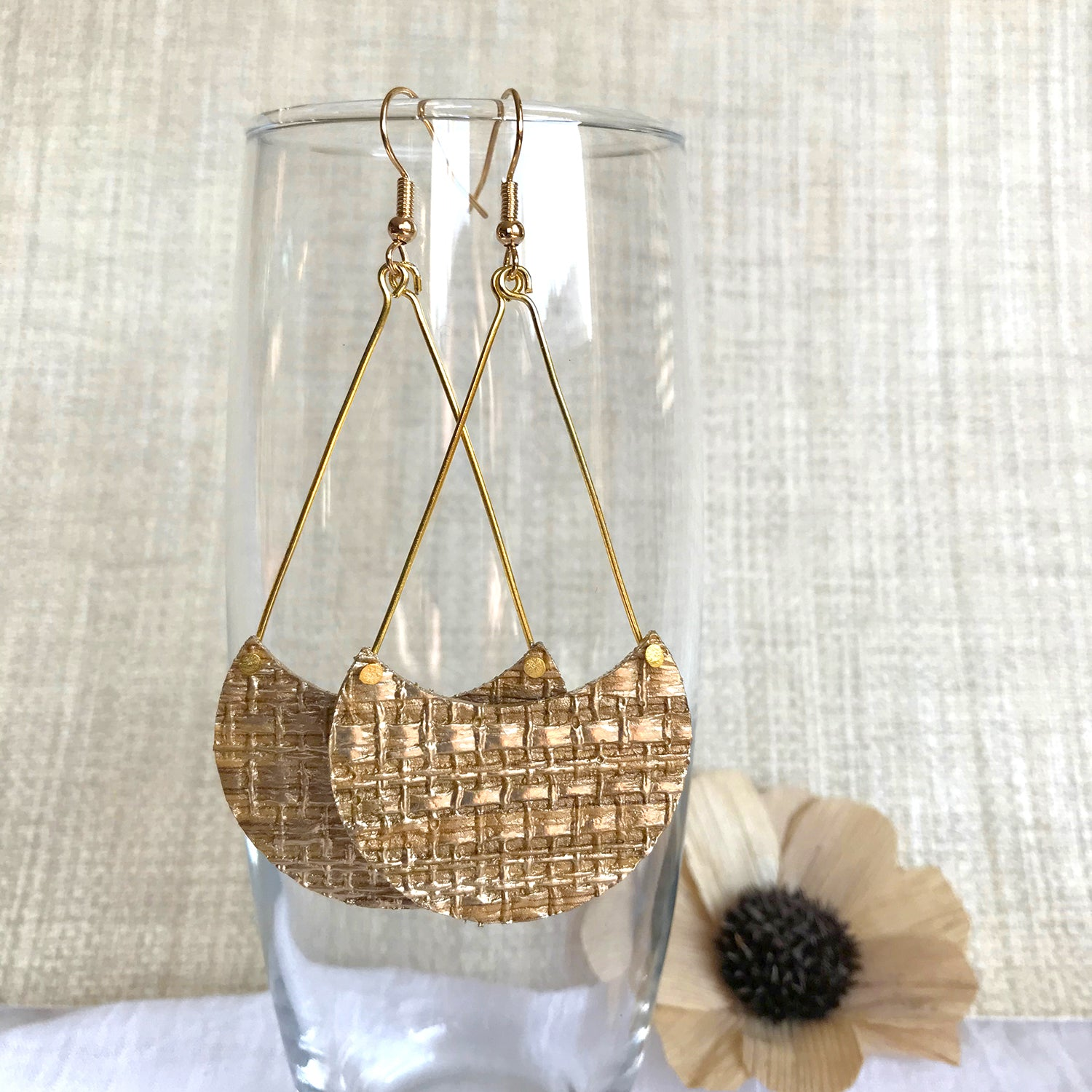 Golden Grasscloth Crescent Earrings
