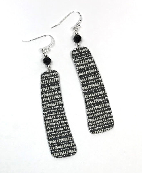 Long and Sophisticated Black and White Wallpaper Earrings made from recycled wallpaper samples