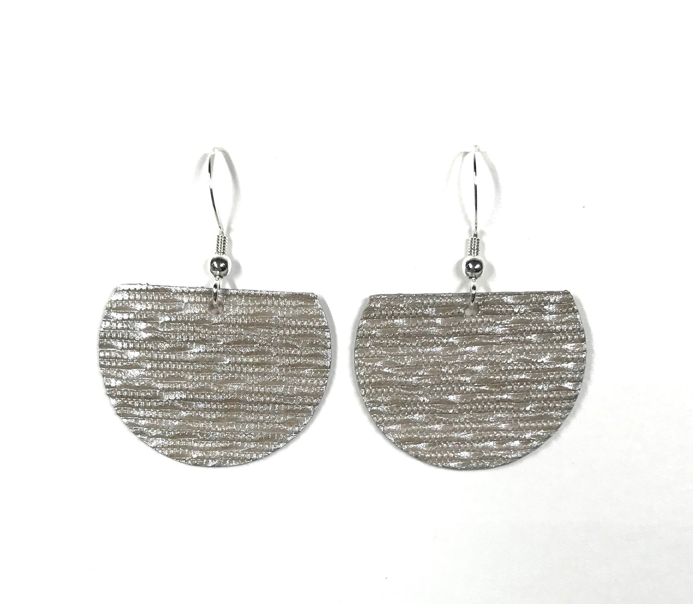 Textured Metallic Grey Ultra-Lightweight Earrings