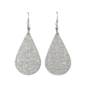 Pearly Grey Linen Texture Lightweight Teardrop Earrings