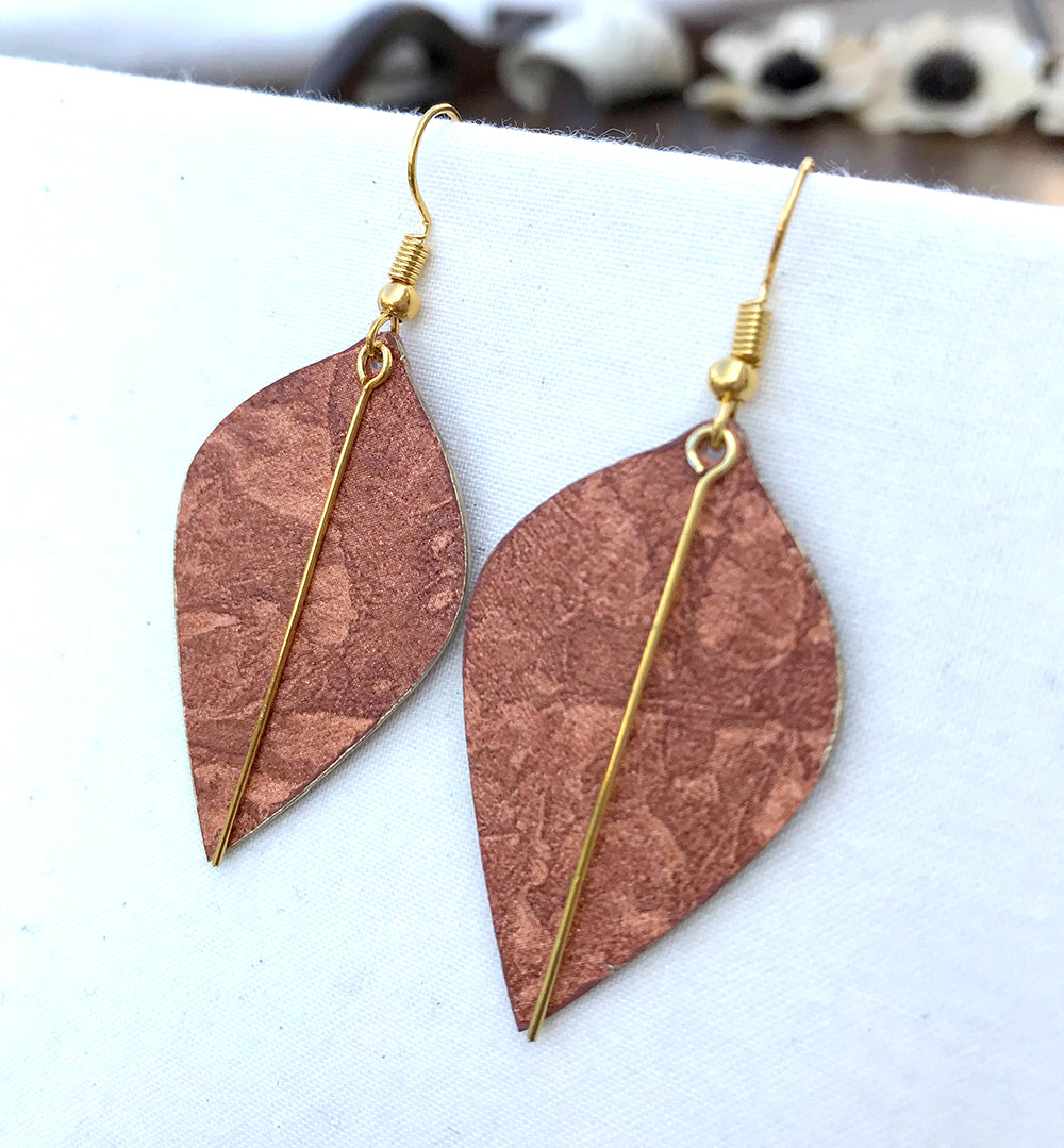 Lightweight Earrings in Rust Venetian Plaster Wallpaper with Gold Accents