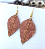 Load image into Gallery viewer, Lightweight Earrings in Rust Venetian Plaster Wallpaper with Gold Accents