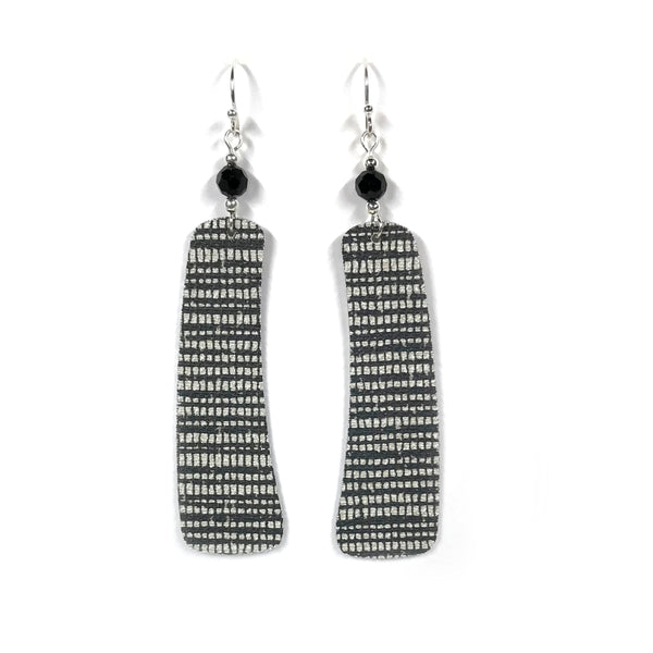 Long and Sophisticated Black and White Wallpaper Earrings